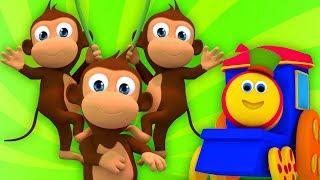 Cinco Macaquinhos   rimas em portugues   Bob Five Little Monkeys