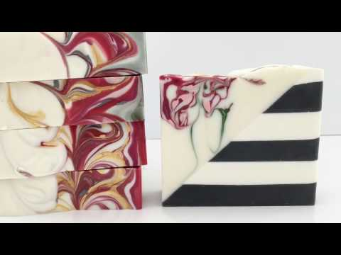 Soapmaking Diagonal sliced Striped Soap with Swirls