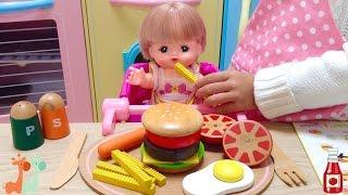 メルちゃん おままごと チーズバーガーセット / Mell-chan Doll Cooking Toys , Cheeseburger Meal