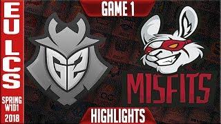 G2 vs MF Highlights | EU LCS Spring 2018 W1D1 | G2 Esports vs Misfits Gaming