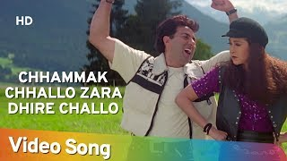 pc mobile Download Chhammak Chhallo Zara Dhire Challo - Ajay Songs - Sunny Deol - Karishma Kapoor - Fun Song