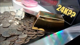 WINNING A GOLD BAR FROM THE COIN PUSHER!!!