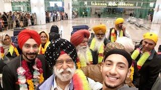 Arrival of Sikh Sangat on Islamabad international Airport peshawari Singhs saying welcome