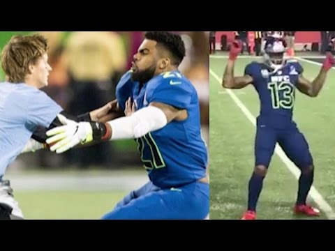 Odell Beckham Jr Dances to Juju On That Beat Ezekiel Elliot TACKLES and Races Fan at 2017 Pro Bowl