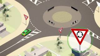 Giving way at a roundabout