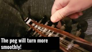 Fix squeaky Oud pegs (all you need is a pencil)