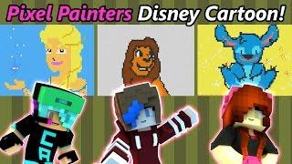 Hypixel Pixel Painters Disney Cartoon with Chad Alan & RadioJh Audrey | Minecraft Minigame