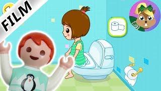 بلايموبيل فيلم   أيما تلعب وحدها فى تطبيق تعلم دخول الحمام للاطفال --تدريب الحمام   عائلة الطيور