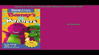 Barney's Best Manners 1998 Actimates VHS Opening & Closing