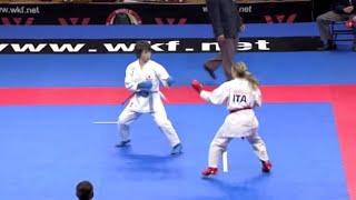 Miki Kobayashi vs. Sara Cardin :: Belgrade 2010 Female Kumite Final -55kg