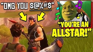 I used a VOICE CHANGER to SING SHREK SONGS and this happened.. | Fortnite Trolling
