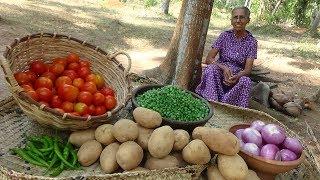 Green Peas Potato Curry ❤ Healthy Village Food by Grandma   Village Life