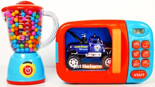 Monster Tow Truck Car Vehicles Toys for Kids Learn Colors for Toddlers with Microwave Playset