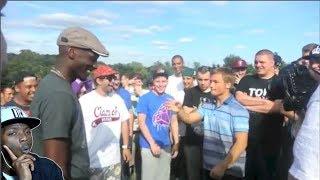 kid destroys tall black rapper in rap battle