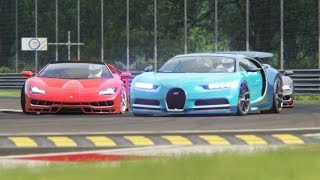 Battle Bugatti Chiron x Lamborghini Centenario Racing at Monza Circuit