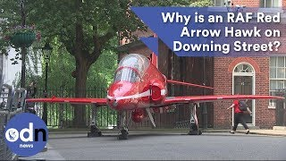 Why is an RAF Red Arrow Hawk parked on Downing Street?