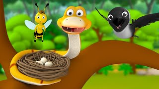 The Crow And Snake Eggs Telugu Story - పాము మరియు కాకి గుడ్లు నీతి కధ 3D Animated Kids Fairy Tales