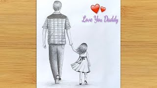 Father's day special drawing ||  Easy way to draw Father and Daughter -step by step