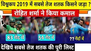 विश्वकप 2019 में सबसे तेज शतक जड़ने वाले बल्लेबाज,रोहित शर्मा ने मात्र 57 गेंदों में किया कमाल