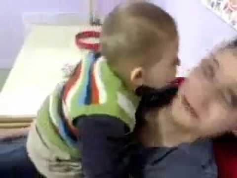 son wants to kiss mom
