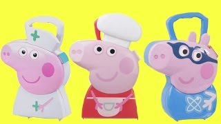 Three Peppa Pig Carrying Cases: Medical Doctor Nurse, Superhero George & Baking Cooking Chef