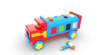 Learn Colors with Wooden Truck and Toy Street Vehicles - Colors for Children
