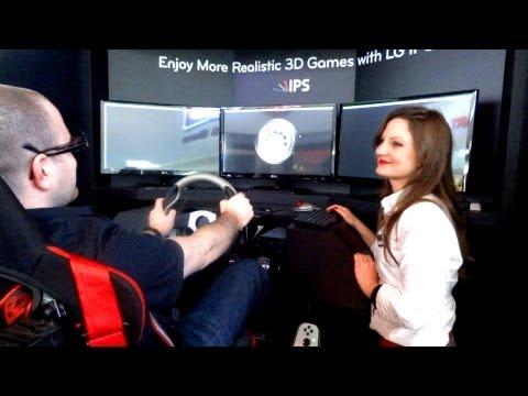 LG Triple Monitor 3D Racing Simulator CES 2012