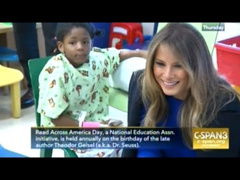 First Lady Melania Trump Reads To Sick Children At Weill Cornell Medical Center