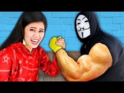 CAN YOU BEAT THIS GIRL at ARM WRESTLING Surprising my Friends SPY NINJAS vs Giant Hacker Challenge