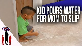 Mom Slips & Falls After Out Of Control 5Yr Old Pours Water On Floor | Supernanny
