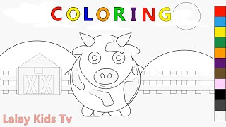 Coloring Pages Farm and Cow - Barn Coloring - Learning Colors for Kids - Farm Animal Coloring