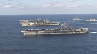 U.S. Navy Three Carrier Formation in Western Pacific Ocean