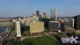 Aerial Drone Over Pittsburgh PA - Pirates & Steelers Stadiums