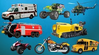 Learning Transport Vehicles Names and Sounds for Kids | Ambulance Dump Trucks | Video for Children