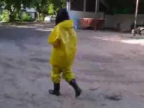 Used Yellow PVC Rainsuit 1
