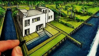 How To Draw a 3d House in 2-Point Perspective