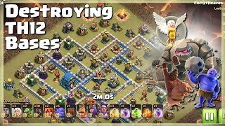 30 HOGS+6 BOWLERS+3 HEALERS+GOLEM= Destroying TH12 | TH12 War Strategy #68 | COC 2018 |