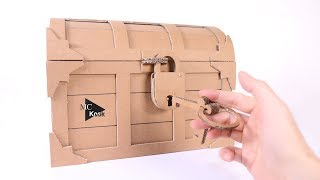 How to make Treasure Chest with a Lock - Cardboard DIY