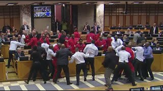 Punches thrown as chaos erupts in Parliament to remove EFF