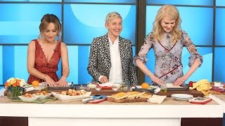 Ellen and Nicole Kidman Try to Learn Cooking Skills from Giada De Laurentiis