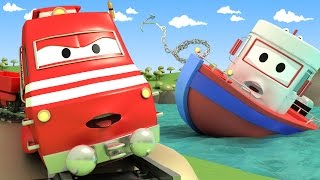 Troy The TRAIN and Charlie Help Bobby the BOAT in Car City   Cars & Trucks cartoon for children