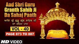 Aad Sri Guru Granth Sahib Ji Da Sahaj Paath (Vol - 40) | Page No. 873 to 887 | Bhai Pishora Singh Ji
