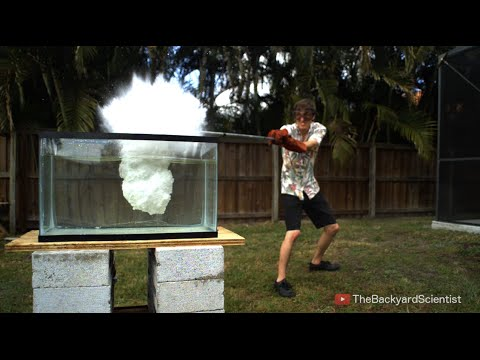Pouring Molten salt into Water -