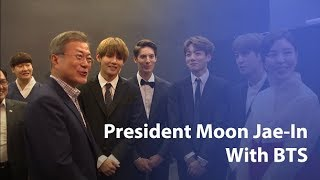 Korean President Moon Jae-in takes pictures with BTS