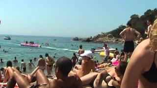 Nudist on the beach in Lloret de Mar