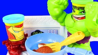Play Doh Can Heads Marvel Smashdown Iron Man And Hulk Bake Yummy Play-Doh Treats