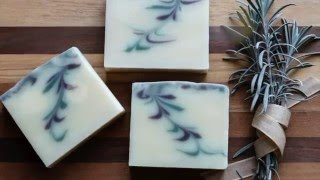Homemade Natural Soap - Reverse Feather Swirl