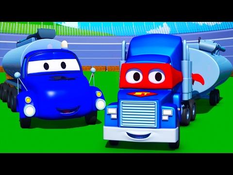 Carl o Super Caminhão e o Caminhão Tanque na Cidade do Carro | Desenho animado para crianças