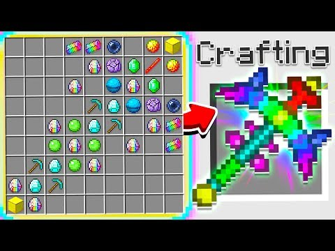 HOW TO CRAFT A 100 000 RAINBOW PICKAXE OVERPOWERED Minecraft 1.13 Crafting Recipe