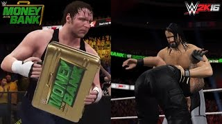 WWE 2K16 Money in the Bank 2016 Roman Reigns vs Seth Rollins (Dean Ambrose Cashes in the MITB)